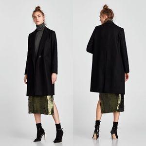 👚ZARA👚 Masculine Wool Coat Black LARGE